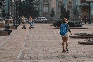 Skater girl on city street