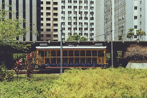 Old-fashioned yellow bonde tram