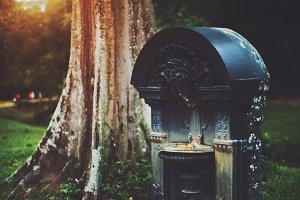 Dry rusty metal fountain