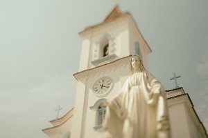 ordinary church with a bell tower