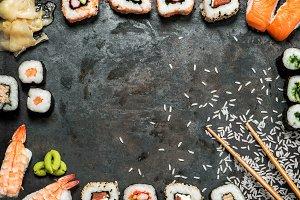 Sushi rolls, maki, nigiri