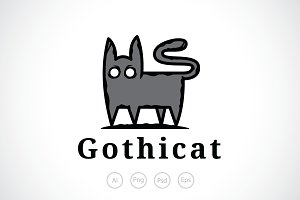 Scary Gothic Cat Logo Template