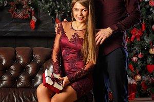 Enamored couple and Christmas.