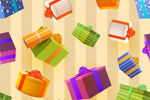 A lot of bright colorful gift boxes