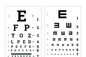 Eyes test charts, medical posters