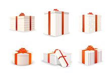 Set of 9 white bright gift boxes