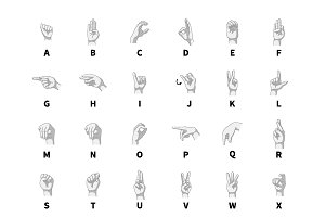 Hands language signs on white