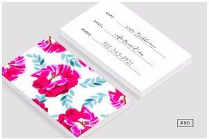 Fluorescent Florals Business Card