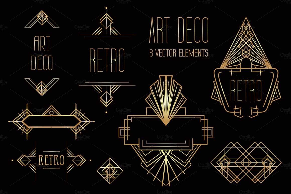 art deco elements vol 1 graphic patterns creative market. Black Bedroom Furniture Sets. Home Design Ideas