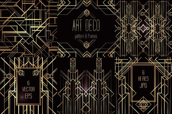 Art deco elements vol 2 patterns creative market for Deco 5 elements