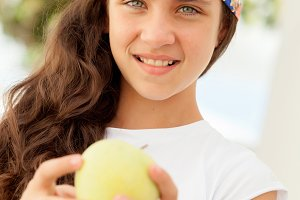 Teenager girl with blue eyes
