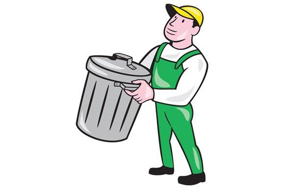Garbage Collector Carrying Bin Carto