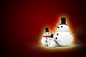 snowman family in christmas day