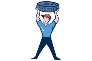 Tireman Mechanic With Tire Cartoon