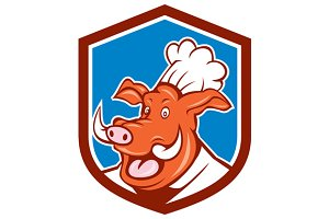 Wild Pig Boar Chef Cook Head Shield