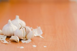 Garlic on the wood table