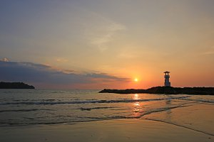Lighthouse with sunset