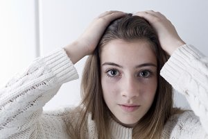 Portrait of adolescent with long