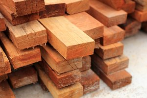 set of wood pine timber