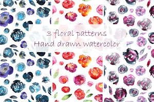 3 floral patterns, watercolor