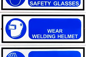 blue safety signs borad