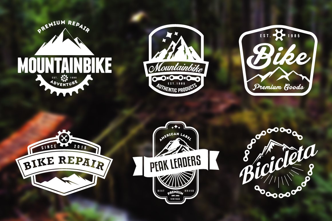 Mountain Bike Retro Badges ~ Logo Templates ~ Creative Market