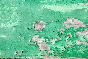 Old wood surface with green paint