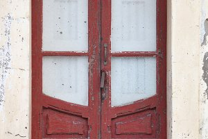 Red door in old house
