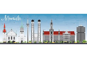 Munich Skyline with Gray Buildings