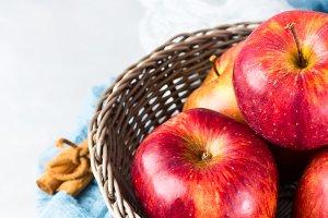 Fresh apples in basket. Healthy eating background
