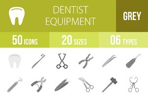 50 Dentist Equipment Greyscale Icons