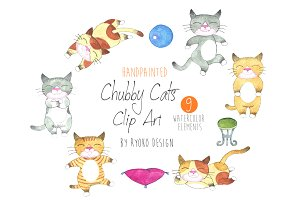 Watercolor Chubby Cat Clip art