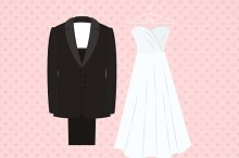 Suit beside wedding dress