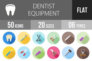 50 Dentist Flat Shadowed Icons