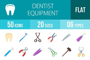 50 Dentist Flat Multicolor Icons
