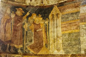 Colorful fresco in medieval church