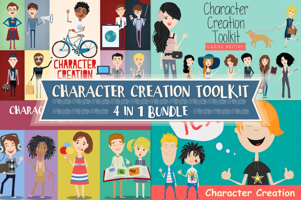 Character Design Animation Toolkit : Character creation toolkit bundle illustrations