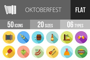 50 Oktoberfest Flat Shadowed Icons