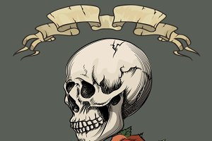 Human skull with roses
