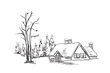 Landscape. House and tree.