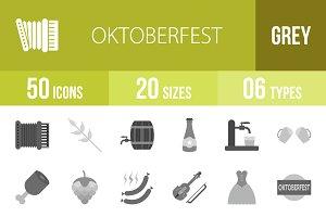 50 Oktoberfest Greyscale Icons
