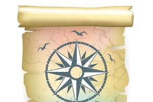 Scroll with vintage compass design