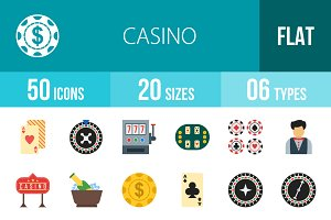 50 Casino Flat Multicolor Icons