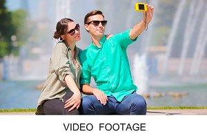 Selfie tourist fiends smiling happy