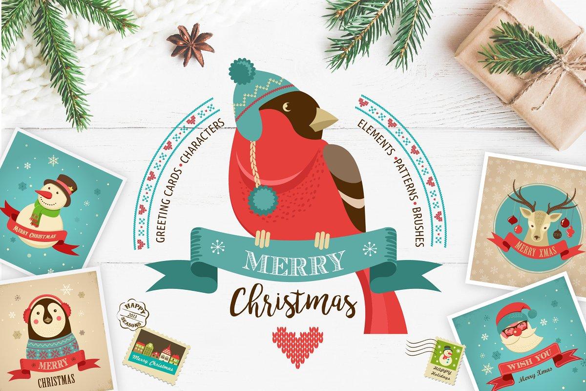 Huge Christmas Card.Huge Hipster Christmas Bundle Illustrations Creative Market