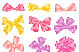 Set of decorative bows.