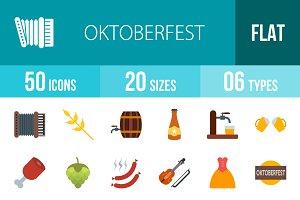 50 Oktoberfest Flat Multicolor Icons