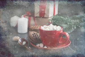Hot chocolate with christmas gifts