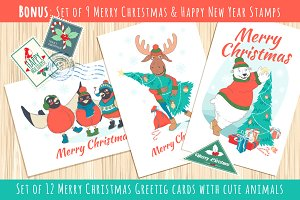 Merry Christmas cute greeting cards