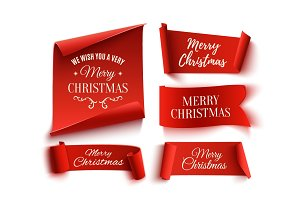 Set of Merry Christmas ribbons.